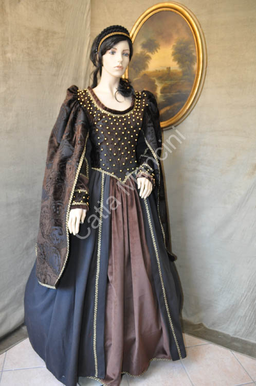 Costume donna medievale abito in damasco e velluto rifinito con car interior design - Costume da bagno velluto ...